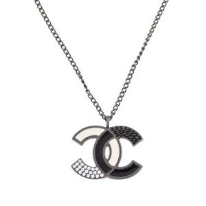 Chanel Black & White Crystal & Enamel CC Necklace
